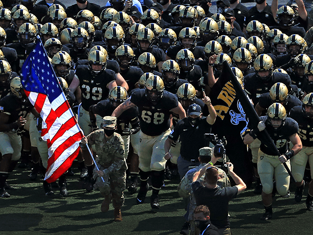 The Army Black Knights run on to the field before their game against the Middle Tennessee Blue Raiders at Michie Stadium on September 5, 2020 in West Point, New York. (Photo by Mike Lawrie/Getty Images)
