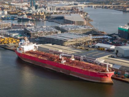 SOUTHAMPTON, ENGLAND - OCTOBER 26: The Nave Andromeda in the port on October 26, 2020 in Southampton, England. The 228-metre, Liberian-registered oil tanker was carrying oil from Nigeria to the port of Southampton when it was subjected to a suspect hijacking by stowaways off the coast of the Isle of …