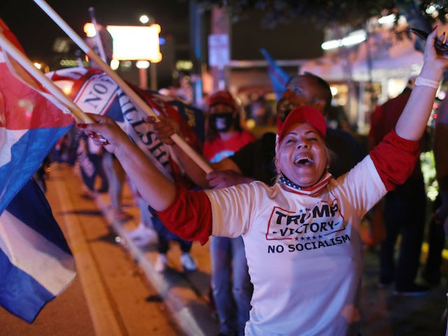 MIAMI, FLORIDA- NOVEMBER 03: Supporters of U.S. President Donald Trump cheer outside of the Versailles restaurant as they await the results of the presidential election on November 03, 2020 in Miami, Florida. After a record-breaking early voting turnout, Americans head to the polls on the last day to cast their …