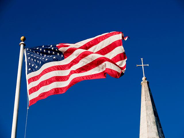 flag and church