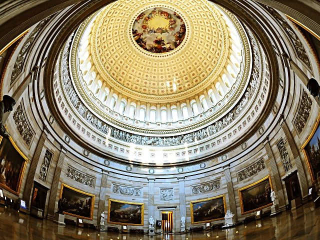 The Rotunda of the US Capitol is seen on July 28, 2009 on Capitol Hill in Washington, DC. Thousands of visitors walk through the Rotunda daily. AFP PHOTO/Karen BLEIER (Photo by KAREN BLEIER / AFP) (Photo by KAREN BLEIER/AFP via Getty Images)