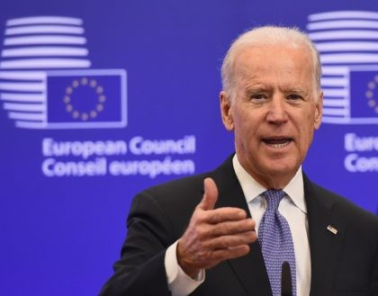 US Vice President Joe Biden speaks during a meeting with European Union President Donald Tusk (unseen) on February 6, 2015 at the EU Headquarters in Brussels. Ukraine is battling to survive in the face of escalating Russian involvement and needs the EU and US to stand together, Biden said during …