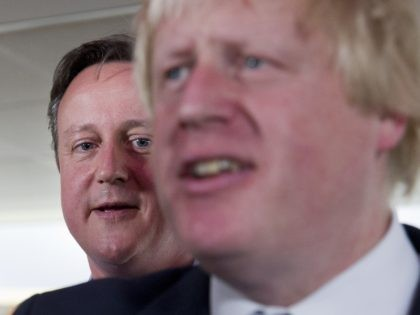 London Mayor Boris Johnson (R) and British Prime Minister David Cameron speak at a Conservative party election rally in Hendon in north London on May 5, 2015. Britain's political leaders today began a final push for votes ahead of Thursday's knife-edge election, even as they prepared for the likelihood of …
