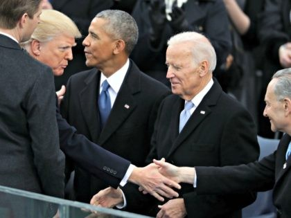 WASHINGTON, DC - JANUARY 20: U.S. President-elect Donald Trump (2nd L) and his son Eric Trump greet (L-R) President Barack Obama, Vice President Joe Biden and Senate Minority Leader Charles Schumer (D-NY) as they arrive for Trump's inauguration on the West Front of the U.S. Capitol on January 20, 2017 …