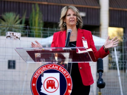 Dr. Kelli Ward, chair of the Arizona Republican Party, holds a press conference at the Maricopa County Elections Department as she reports the progress of the a post-election logic and accuracy test for the general election as an observer of the test process Wednesday, Nov. 18, 2020, in Phoenix. (AP …