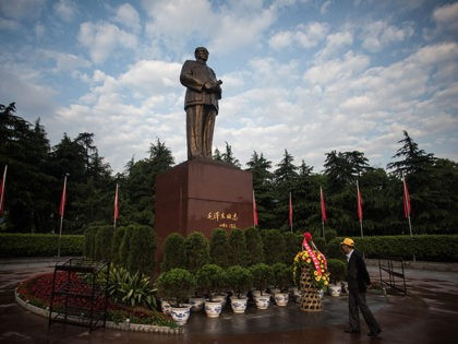 This picture taken on April 21, 2016 in Shaoshan shows a Chinese tourist in front of a huge bronze Mao statue. Shaoshan in central China's province Hunan is the hometown of former communist leader Mao Zedong. The small village is a hotspot for 'red tourism'. Millions of Mao devotees from …