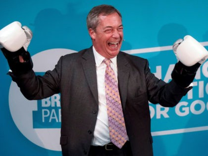 Brexit Party leader Nigel Farage poses for a photograph in boxing gloves during his visit to Gator ABC Boxing Club in Ilford, east London on November 13, 2019, during a general election campaign visit. - Britain will go to the polls on December 12 to vote in a pre-Christmas general …
