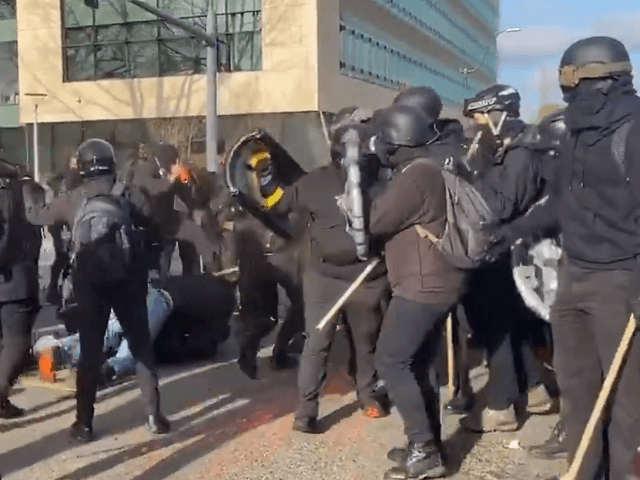 An Antifa crowd surrounds and beats a conservative protester in Olympia, Washington. (Twitter Video Screenshot/Independent Media PDX)