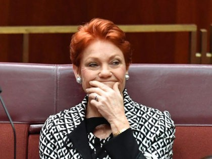 "CANBERRA, AUSTRALIA - JUNE 17: One Nation Senator Pauline Hanson during Senate Business in the Senate at Parliament House on June 17, 2020 in Canberra, Australia. Pauline Hanson charged taxpayers $3,700 for a three-night trip to Perth where she held intimate dinners for high-paying One Nation donors and a ""fish …"