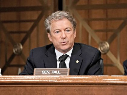 WASHINGTON, DC - DECEMBER 16: Sen. Rand Paul (R-KY) asks questions during a Senate Homeland Security and Governmental Affairs Committee hearing to discuss election security and the 2020 election process on December 16, 2020 in Washington, DC. U.S. President Donald Trump continues to push baseless claims of voter fraud during …