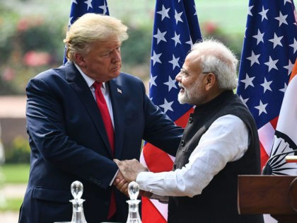 US President Donald Trump (L) shakes hands with India's Prime Minister Narendra Modi during a joint press conference at Hyderabad House in New Delhi on February 25, 2020. (Photo by Prakash SINGH / AFP) (Photo by PRAKASH SINGH/AFP via Getty Images)