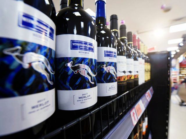 Bottles of Australian wine are displayed at a supermarket in Hangzhou, in eastern China's Zhejiang province on November 27, 2020. (Photo by STR / AFP) / China OUT (Photo by STR/AFP via Getty Images)
