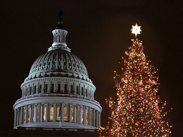 WASHINGTON - DECEMBER 9: A holiday tree is shown lit in front of the U.S. Capitol building December 9, 2004 in Washington, DC. House Speaker J. Dennis Hastert (R-Ill.) hosted the official tree lighting ceremony today. The 79-year-old red spruce weighs approximately 92 hundred pounds and is about 67 feet …