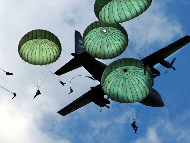 The Army 82nd Airborne Division, from Fort Bragg, N.C., performs a mass jump with 120 members during the 56th annual Department of Defense Joint Service Open House (JSOH) hosted at Andrews Air Force Base, Md.. The 82nd Airborne Division's real world mission is to within 18 hours of notification, strategically …