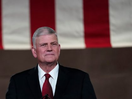 Evangelical leader Franklin Graham prepares to tape his prayer for the fourth day of the Republican National Convention from the Andrew W. Mellon Auditorium in Washington, Thursday, Aug. 27, 2020. (AP Photo/Susan Walsh)