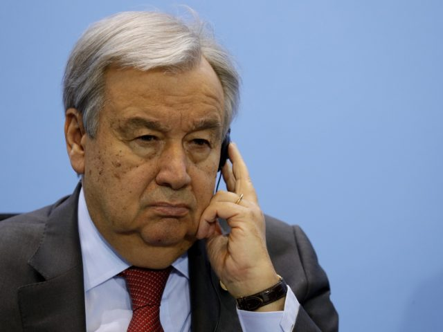 BERLIN, GERMANY - JANUARY 19: Secretary General of the United Nations (UN), Antonio Guterres attends a press conference on the International Libya Conference in Berlin, Germany, 19 January 2020. According to media reports the participants of the Berlin Libya summit have committed to a UN arms embargo and guaranteed an …