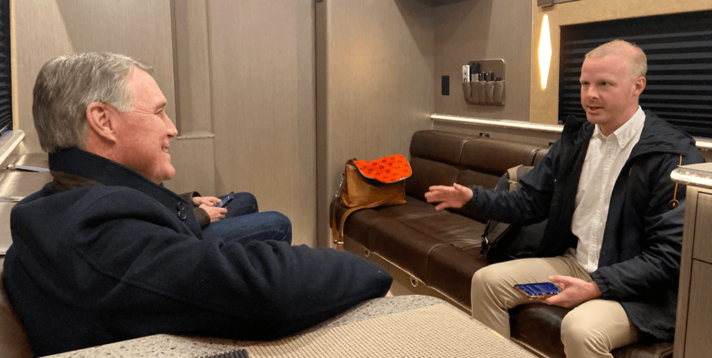 Sean Moran interviews Sen. David Perdue during a campaign stop December 15, 2020.