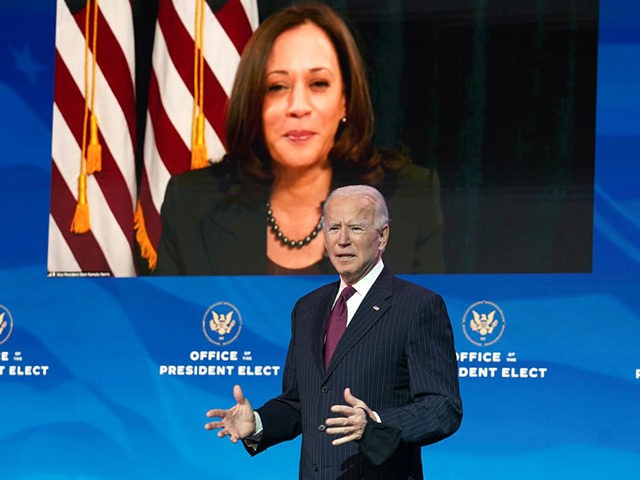 WILMINGTON, DELAWARE - DECEMBER 16: Vice President-elect Kamala Harris, appearing via video link, listens as U.S. President-elect Joe Biden speaks during a news conference at his transition headquarters on December 16, 2020 in Wilmington, Delaware. Biden made further announcements regarding his administration's cabinet choices including nominating former Democratic presidential candidate …