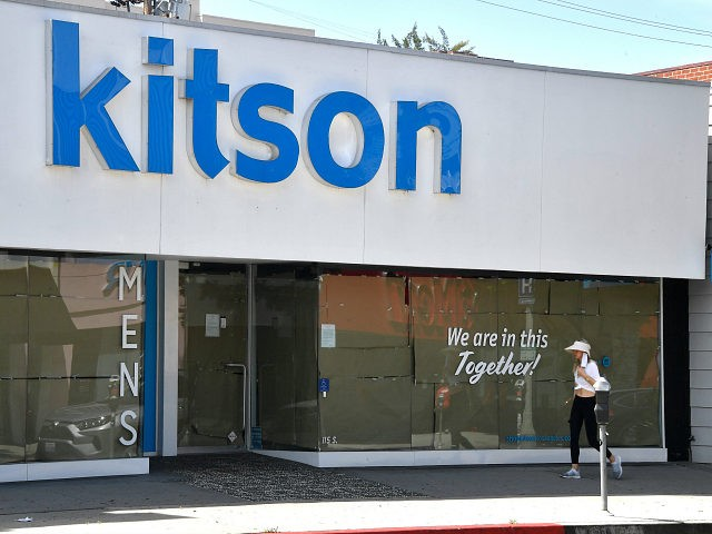 LOS ANGELES, CALIFORNIA - APRIL 22: A view of Kitson Store on Robertson displaying a message on their window during the COVID-19 lockdown on April 22, 2020 in Beverly Hills, California. COVID-19 has spread to most countries around the world, claiming over 175,000 lives with infections over 2.5 million people. …