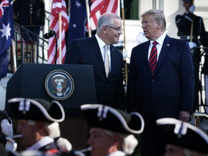 WASHINGTON, DC - SEPTEMBER 20: U.S. President Donald Trump welcomes Australian Prime Minister Scott Morrison during an arrival ceremony at the South Lawn of the White House September 20, 2019 in Washington, DC. Prime Minister Morrison will participate in an Oval Office meeting, a joint news conference, and a state …