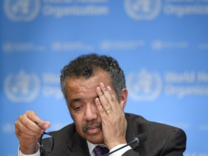 TOPSHOT - EDITORS NOTE: Graphic content / World Health Organization (WHO) Director-General Tedros Adhanom Ghebreyesus reacts as he attends a daily press briefing on the COVID-19 outbreak (the novel coronavirus) at the WHO headquarters in Geneva on February 28, 2020. (Photo by Fabrice COFFRINI / AFP) (Photo by FABRICE COFFRINI/AFP …