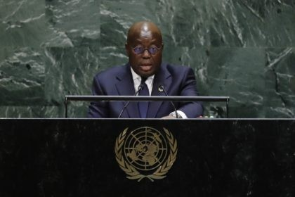 In this Sept. 25 2019 file photo, Ghana's President Nana Addo Dankwa Akufo-Addo addresses the 74th session of the United Nations General Assembly at the United Nations headquarters. Ghanaians head to the polls for general elections on Monday Dec. 7 2020 that many contend will be a close race between …