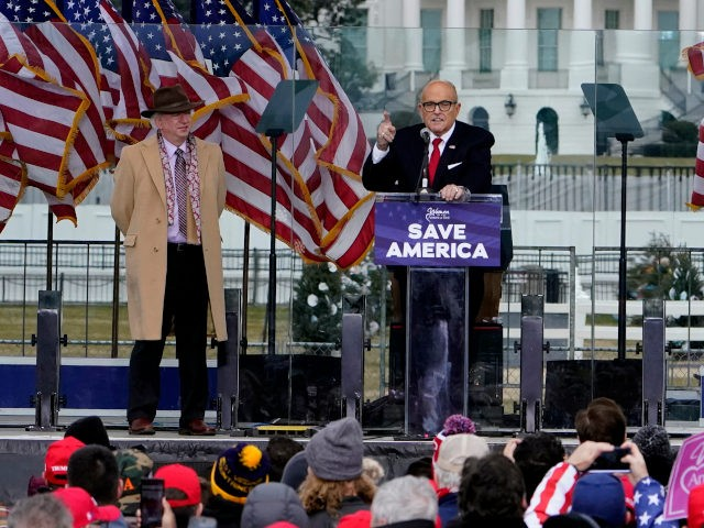 "Former New York City Mayor Rudy Giuliani speaks Wednesday, Jan. 6, 2021, in Washington, at a rally in support of President Donald Trump called the ""Save America Rally."" (AP Photo/Jacquelyn Martin)"