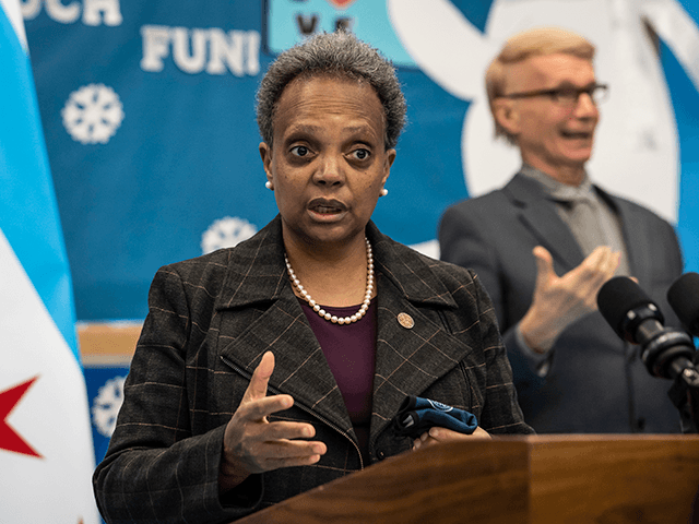 Mayor Lori Lightfoot speaks to reporters after visiting preschool classrooms at Dawes Elementary School in Chicago, Monday, Jan. 11, 2021. Monday was the first day of optional in-person learning for preschoolers and some special education students in Chicago Public Schools after going remote last March due to the coronavirus pandemic. …
