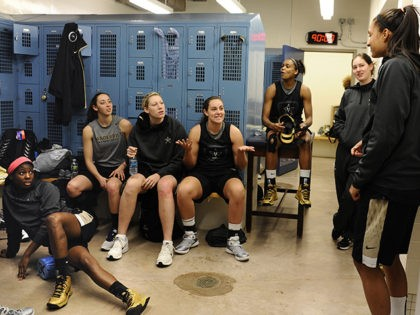 Vanderbilt players relax with a game of charades in the team locker room before practice for a second-round game in the women's NCAA college basketball tournament in in Storrs, Conn., Sunday, March 24, 2013. Vanderbilt will play Connecticut on Monday. (AP Photo/Jessica Hill)