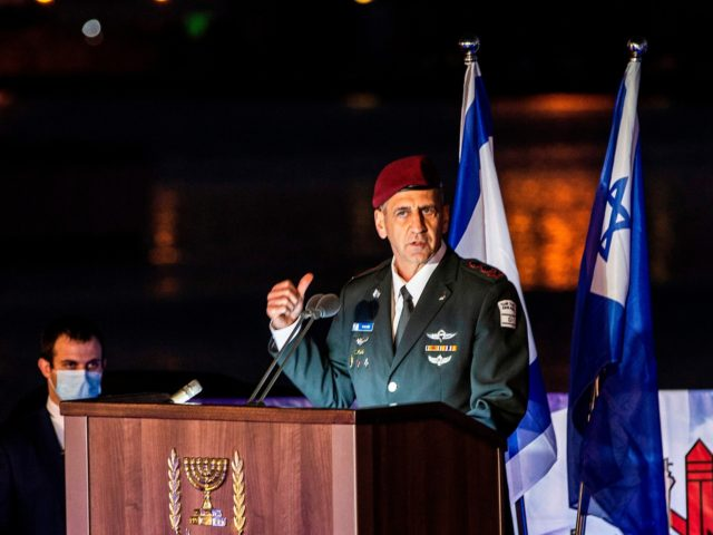 Israeli army chief of staff Aviv Kohavi delivers a speech during a ceremony marking the arrival of the first of four new German-built Saar 6 naval vessels (unseen) purchased by the navy, in the northern Haifa city naval base, on December 2, 2020. - Israel received the first of its …