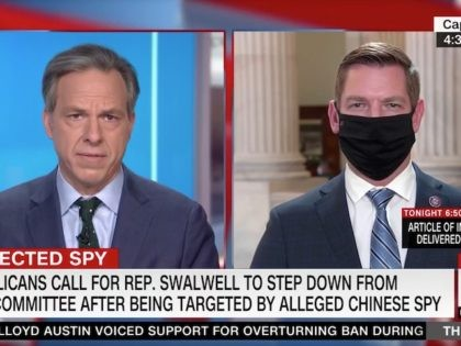 CNN anchor Jake Tapper questioned Representative Eric Swalwell (D-CA) on …