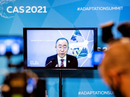 Ban Ki-moon, 8th Secretary-General of the United Nations and chair of the Global Center on Adaptation, is seen on a screen speaking in The Hague on January 20, 2021, during a press briefing on the upcoming Climate Adaptation Summit 2021 which will be held on 25 and 26 January held …