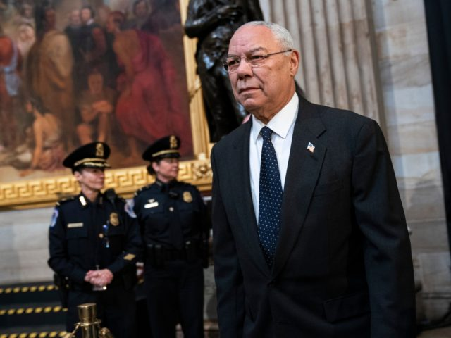 WASHINGTON, DC - DECEMBER 4: Former Chairman of the Joint Chiefs of Staff and former Secretary of State Colin Powell arrives to pay his respects at the casket of the late former President George H.W. Bush as he lies in state at the U.S. Capitol, December 4, 2018 in Washington, …