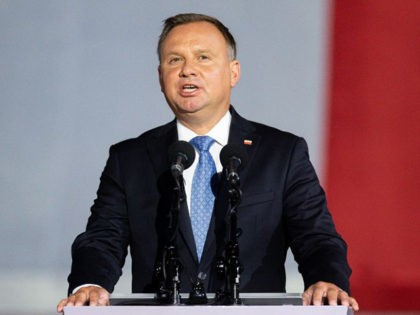Polish President Andrzej Duda speaks to the crowd during an event to commemorate the outbreak of World War II in Gdansk - Westerplatte on September 1, 2020. - The defense of the Military Transit Depot on Westerplatte by the Polish Army against Germany's invasion was the first battle of the …