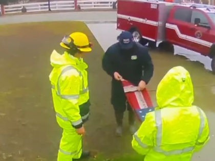 Firefighters save an American flag