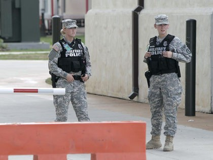 SAN ANTONIO, TX - SEPTEMBER 17: U.S. Army military police guard the area around the U.S. Army Installation Management Command at Fort Sam Houston where the U.S. Army holds Article 32 preliminary hearing in the Bowe Bergdahl desertion case at Fort Sam Houston on September 17, 2015 in San Antonio, …