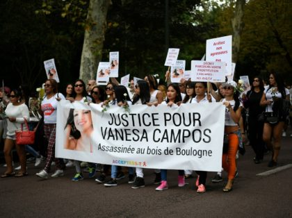 People take part in a march at the Bois de Boulogne in Paris, on August 24, 2018, in tribute to Vanesa Campos, a 36 year-old transsexual sex worker who was killed the week before. (Photo by Lionel BONAVENTURE / AFP) (Photo credit should read LIONEL BONAVENTURE/AFP via Getty Images)