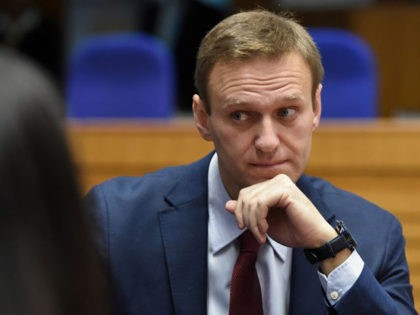 Russian opposition leader Alexei Navalny looks on ahead of a hearing at the European Court of Human Rights (ECHR) in Strasbourg on November 15, 2018. - ?Top Kremlin critic Alexei Navalny heads on November 15 to the European Court of Human Rights which will rule on whether his repeated arrests …