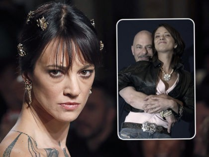 (INSET: Rob Cohen embraces Asia Argento) PARIS, FRANCE - JANUARY 21: Italian actress Asia Argento walks the runway during the Antonio Grimaldi Spring Summer 2019 show as part of Paris Fashion Week on January 21, 2019 in Paris, France. (Photo by Thierry Chesnot/Getty Images)