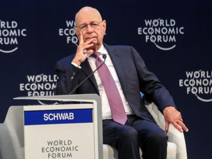 Klaus Schwab, founder and executive chairman of the World Economic Forum (WEF), looks on as he sits on a panel during the 2019 World Economic Forum on the Middle East and North Africa, at the King Hussein Convention Centre at the Dead Sea, in Jordan on April 6, 2019. (Photo …