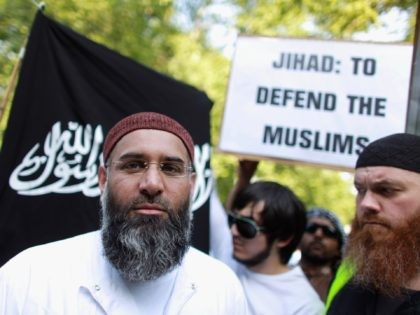 LONDON, ENGLAND - MAY 06: Anjem Choudary leads a protest against the killing of Osama bin Laden outside the US embassy in Mayfair on May 6, 2011 in London, England. The demonstration, which was called by radical Muslim cleric Anjem Choudary, was in close proximity to a rival protest by …