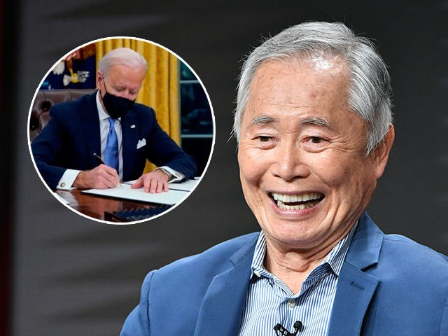 (INSET: Joe Biden) BEVERLY HILLS, CA - JULY 25: George Takei of The Terror: Infamy speaks during the AMC segment of the Summer 2019 Television Critics Association Press Tour 2019 at The Beverly Hilton Hotel on July 25, 2019 in Beverly Hills, California. (Photo by Amy Sussman/Getty Images)