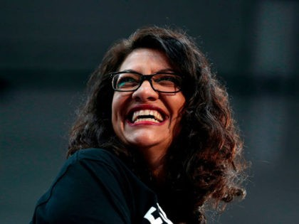 Representative Rashida Tlaib (D-MI) speaks as she endorses 2020 Democratic presidential hopeful US Senator Bernie Sanders (D-VT) during a campaign rally at Cass Technical High School in Detroit, Michigan, on October 27, 2019. (Photo by JEFF KOWALSKY / AFP) (Photo by JEFF KOWALSKY/AFP via Getty Images)