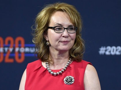 LAS VEGAS, NEVADA - OCTOBER 02: Former U.S. Rep. Gabrielle Giffords looks on during the 2020 Gun Safety Forum hosted by gun control activist groups Giffords and March for Our Lives at Enclave on October 2, 2019 in Las Vegas, Nevada. Nine Democratic presidential candidates are taking part in the …