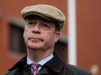 HARTLEPOOL, ENGLAND - NOVEMBER 11: Brexit Party leader Nigel Farage attends a remembrance service to mark Armistice Day at Hartlepool War Memorial on November 11, 2019 in Hartlepool, England. Mr Farage is in Hartlepool as part of the Brexit Party general election campaign tour. Britain goes to the polls on …