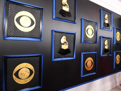 The CBS and Grammy logos are seen on a backdrop as the celebrity arrival area is being set up ahead of the 62nd Annual Grammy awards at LA Live, in Los Angeles, California, on January 24, 2020. (Photo by VALERIE MACON / AFP) (Photo by VALERIE MACON/AFP via Getty Images)