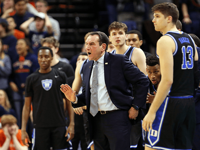 Head coach Mike Krzyzewski of the Duke Blue Devils reacts to a play in the second half during a game against the Virginia Cavaliers at John Paul Jones Arena on February 29, 2020 in Charlottesville, Virginia. (Photo by Ryan M. Kelly/Getty Images)