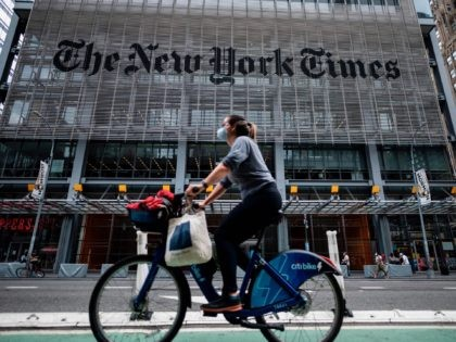 The New York Times building is seen on June 30, 2020 in New York City. - The New York Times has become the highest-profile media organization to leave Apple News, saying the tech giant's service was not helping achieve the newspaper's subscription and business goals. The daily's exit comes as …