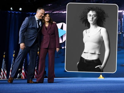 (INSET: Ella Emhoff) Senator from California and Democratic vice presidential nominee Kamala Harris and her husband Douglas Emhoff stand on stage socially distanced to Former vice-president and Democratic presidential nominee Joe Biden and his wife Former Second Lady of the United States doctor Jill Biden at the end of the …