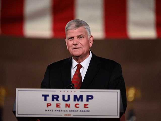 Evangelist Franklin Graham addresses the Republican National Convention in a pre-recorded speech at the Andrew W. Mellon Auditorium, in Washington, DC, on August 27, 2020. (Photo by NICHOLAS KAMM / AFP) (Photo by NICHOLAS KAMM/AFP via Getty Images)